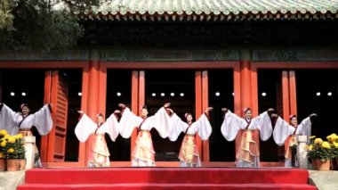 Chinese  dancers performing at Temple — Stock Video