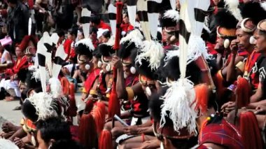 Chakhesang tribesman Hornbill festival wearing traditional dress — Stock Video