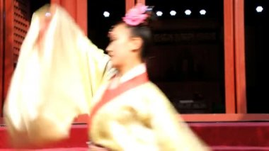 Chinese  dancers performing at Temple — Vídeo stock