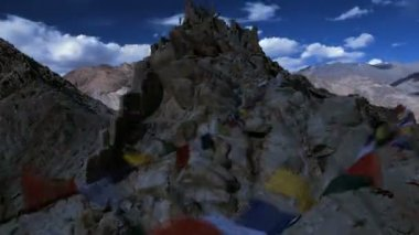 Time lapse view Prayer flags — Wideo stockowe