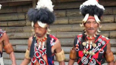 Chang tribesmen dancing at Hornbill festival — Stock Video