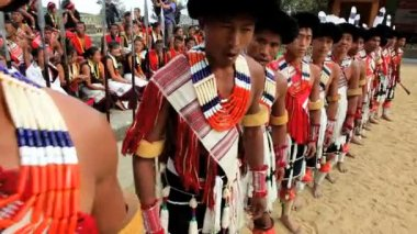 Chakhesang tribe from Nagaland performing Hornbill dance festival — Vídeo de Stock