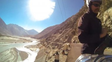 Motorbike rider making selfie — Vídeo de Stock
