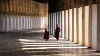 Novice Monks in traditional clothes — Stock Video