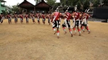 Tribesmen from the Ao tribe dancing at tribal Hornbill Festival — Stock Video