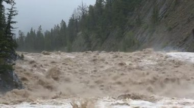 Flood water cascading down swollen mountain river — Stock Video