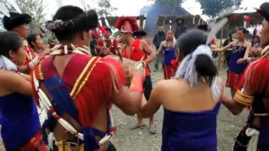 Tribesmen from the Ao tribe dancing at tribal Hornbill festival — Vídeo de Stock