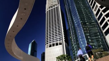 Riparian Plaza Brisbane business district — ストックビデオ