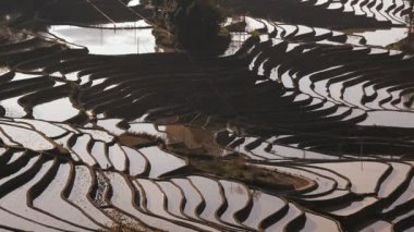 Rice terraces built by Hani people — Stock Video