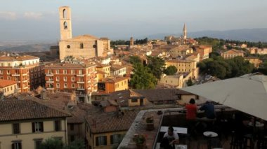 Elevated restaurant view over Perugia — Stock Video