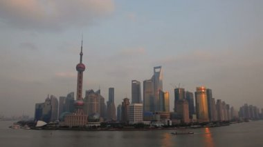 Sunset Oriental Pearl Tower — Stock Video