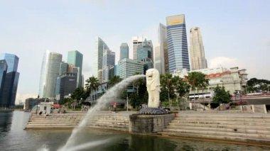 Merlion Statue Marina Bay — Stock Video