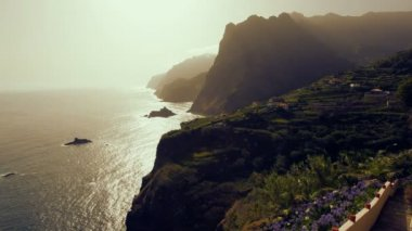 Ocean view of sea cliffs Northern coastal region  Madeira Island — 图库视频影像