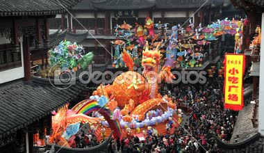 Dragon statue Chinese New Year, Shanghai, China — Stock Video
