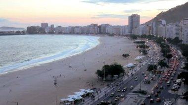 Copacabana beach and  Avendia Atlantica — Stock Video