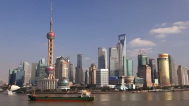 Shanghai city and Huangpu River — Stock Video