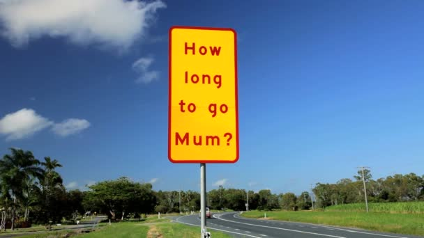 Road sign while travelling — Vidéo