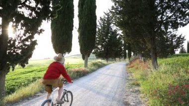 Cyclist enjoying ride among cypress trees — Stock Video