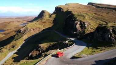Vehicle riding on Scottish highland road — Stock Video