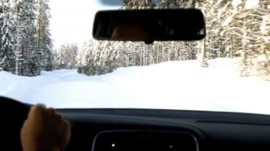 Driving motion on  forest road winter — Stock Video