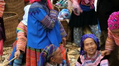 Colourful traditional clothing Flower Hmong hill — Stock Video