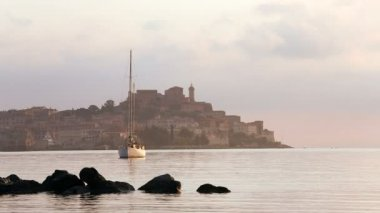 View across the water early morning — Vídeo de Stock