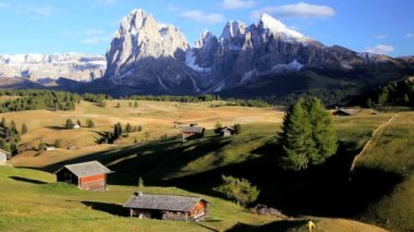 Beautiful Alpine pasture with wooden lodges — Vídeo de stock