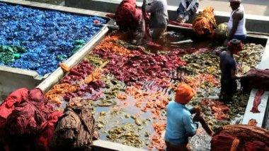 Jaipur India Asia Sari factory male dyed vats dye labor — Stock Video