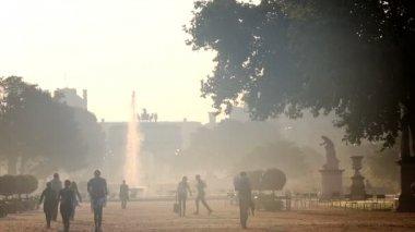 France Paris Arc de Triomphe du Carrousel haze fountain statue — Stock Video