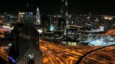 Dubai UAE Sheikh Zayed Road Arabian Gulf illuminated — Stock Video
