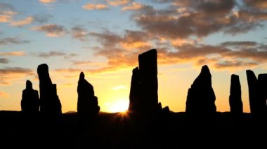 Isle Lewis Outer Hebrides Callanish Standing Stones sunset — Stock Video