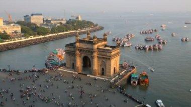 Mumbai Gateway India Maharashtra Asia monument sunset — Stock Video