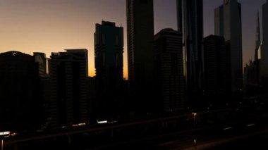 Dubai Sheikh Zayed Road time lapse Burj Kalifa sunrise — Stock Video