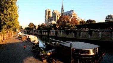 France Paris River Seine Notre Dame church cathedral sunrise — Stock Video