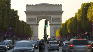 France Paris Europe Arc de Triomphe Avenue Champs Elyses TL — Stock Video