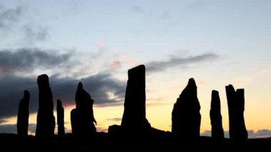 Isle Lewis Outer Hebrides Callanish Standing Stones Scotland sunset — Stock Video