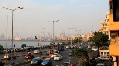 Mumbai Marine drive city skyline travel sunset India — Stock Video