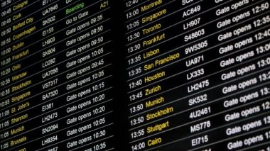 London Heathrow Airport Business Information board departure — Stock Video