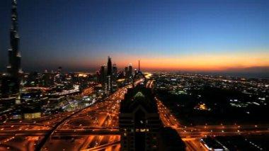 Dubai Burj Kalifa Sheikh Zayed Road illuminated sunset UAE — Stock Video