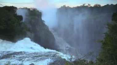 Victoria Falls Wasserfall Afrika Fluss Simbabwe Nationalpark — Stockvideo