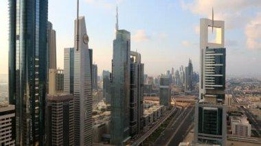 Dubai UAE Sheikh Zayed Road traffic skyscraper Burj Kalifa — Stock Video