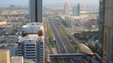 Dubai Sheikh Zayed Road transport skyscraper metro UAE — Stock Video