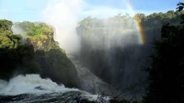 Victoria Falls Zimbabwe Africa Waterfall rainbow Zambezi River — Stock Video