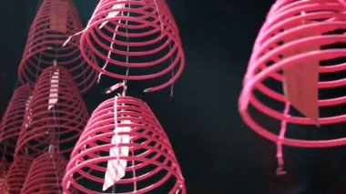 Kuala Lumpur Malaysia Asia Incense lamp burning coil Chinatown — Stock Video