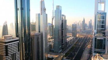 Dubai Sheikh Zayed Road skyline skyscraper Burj Kalifa — Stock Video