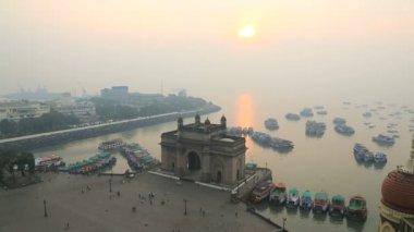 Mumbai India Gate Maharashtra monument sunrise — Stock Video