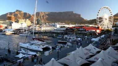 South Africa V A Waterfront Table Mountain Cape Town — Stock Video