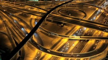 Dubai Sheikh Zayed Road Intersection illuminated UAE — Stock Video