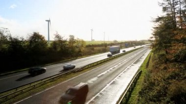 Scotland Dual Carriageway Motorway Wind Turbines — Stock Video