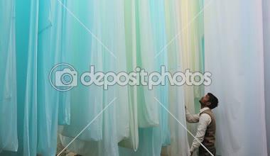 Jaipur India Asia Sari factory male textiles material worker — Stock Video